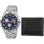 Crude Combo of Blue Dial Watch-rg701 With Black Leather Wallet