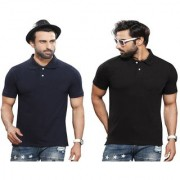 Kundan Sulz Gwalior's Exclusive for Men's 100% Pure-Cotton Polo Neck T-Shirt-Navy Blue & Black ( Pack of 2 T Shirt )
