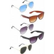 Debonair Aviator, Wayfarer Sunglasses(Blue, Brown, Grey, Black, Black)