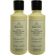 Khadi Pure Herbal Peach Avacado Moisturizer with Sheabutter Paraben Free - 210ml (Set of 2)
