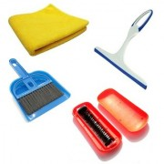 De-Ultimate Set Of Mini Dustpan and Broom Set Magic Roller Brush Microfiber Cleaning Cloth And Glass Wiper Cleaner