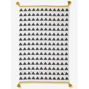Tapete com borlas e triângulos branco claro liso com motivo