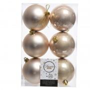 Merkloos 18x Creme kerstballen van kunststof 8 cm