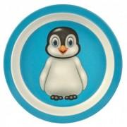 Merkloos Peuterbordje bamboe met pinguin print 21 cm