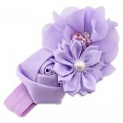 ELENXS del pelo del bebé niña de las flores Banda Perla Headwear para 3-36 Meses elástico magnífico suave práctica Newborn Light Purple