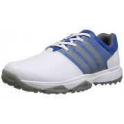 adidas Golf Men's 360 Traxion WD Shoes, Ftwr White/Dark Silver Shock Blue, 10 Wide US