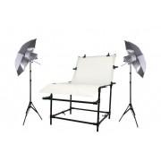 Zestaw oświetleniowy bezcieniowy - 2x 160Ws + stół 60x130cm z parasolami + 2x statyw 230cm