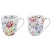 Juego de 2 mugs de porcelana con decorado de flores chinas | Comprar mugs para regalar