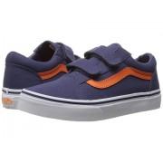 Vans Old Skool V (Little KidBig Kid) (Canvas) Crown BlueMandarin Orange