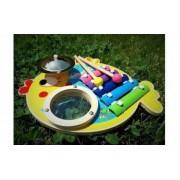 Set 3 instrumente muzicale bebelusi xilofon + tobe + cimbal lemn natur finisaje excelente