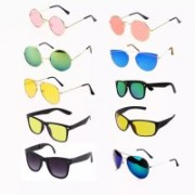 Elgator Aviator, Wayfarer, Sports, Round Sunglasses(Pink, Green, Blue, Yellow, Black)