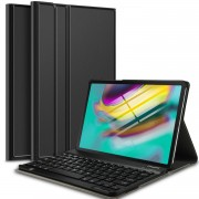 For Samsung Galaxy Tab S5e SM-T720 Bluetooth Keyboard and Detachable Leather Cover - Black