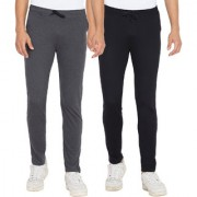 Cliths Black Dark Grey Slim Fit Solid Cotton Track Joggers for Men (Pack Of 2)