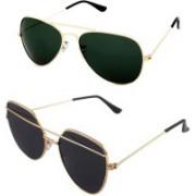 Daller Aviator, Retro Square Sunglasses(Black, Green)