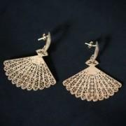 Earring Gold Plated Jewelry Semi Fan