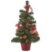 Geen Kunst Kerstboom met rode versiering 52 cm