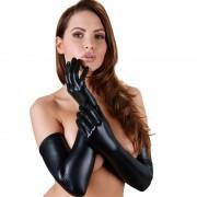 Cottelli Collection hosszú, fényes kesztyű (fekete)