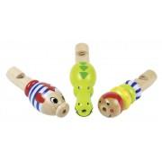 Fa játék hangszer, állatfigurás síp