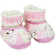 Neska Moda Premium Baby Boys and Girls Pink Cotton Booties For 0 To 12 Months BT245