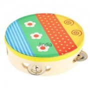 Alcoa Prime Tambourine Drum Bell Metal Jingles Wooden Percussion Musical Toy for Kids#G