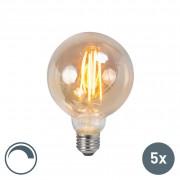 LUEDD Set van 5 LED filament lamp E27 5W 2200K G95 smoke dimbaar