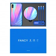 NILLKIN Fancy Tempered Glass Case for iPhone XS Max with Wireless Charger + 3 in 1 Cable Charging Gift Set - Blue