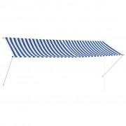 vidaXL feltekerhető kék és fehér napellenző 350 x 150 cm