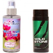 Wild Stone Forest Spice Body Deodorant 150ml and Pink Root Club Nuit Femme Fragrance body Spray 200ml Pack of 2