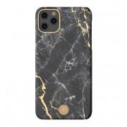 Kingxbar márvány színű, ütésálló iPhone tok - Fekete, 11 Pro Max