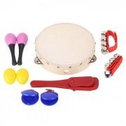 Agitando jingle bell castanet maraca pandereta percusion conjunto musical regalo de juguete para bebe - color de madera