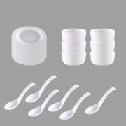 Nucleya Retail 6Pcs Melamine Rim Soup Round Shape Plain Plates Serving Soup Bowls Soup Spoon Dinner Set 6 3.25