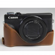 PU Leather Half Camera Case Bag Cover Protector for Canon PowerShot G7 X Mark II - Brown