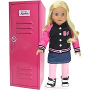 18 Inch Doll Clothes Locker fit for American Girl Doll Bed Rooms & More! 18 Doll Furniture of Pink Metal Doll Locker
