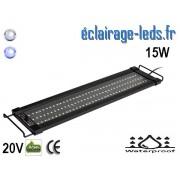 Rampe LED 15W étanche IP67 pour Aquarium Blanc et bleu 45-60cm 20V ref rpa-02