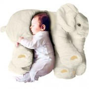 Missley Cute Elephant Pillow Toddler Sleeping Elephant Stuffed Plush Pillows Soft Plush Stuff Toys for Children Kids (Beige)