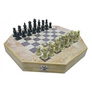 "12"" Hand crafted marble Chess Board with Wooden Base With Storage for Pieces with Velvet Interior & Marble Crafted Pieces For Indoor Game , Gift , Home Decor , Chess Set For adult & Kids"