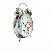6th Dimensions Vintage Silver 4.5 INCH Display Metal Twin Bell Alarm Table Clock With Light