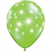 "Baloane latex 11"" inscriptionate Fireworks-a-round Lime Green, Qualatex 91993"