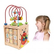Activity Cube, Learning Cube, 6 in 1 Multipurpose Wooden Activity Cube Bead Maze Toy for Baby's & Toddlers