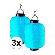 Geen 3x blauwe solar lampionnen 35 cm