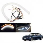 Auto Addict 2PCS 60cm (24 ) Car Headlight LED Tube Strip Flexible DRL Daytime Running Silica Gel Strip Light DC 12V Soft Tube Lamp Fancy Light (Yellow White) For BMW 5 Series