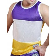 Good Boy Gone Bad Jackson Muscle Top T Shirt Violet/White/Gold