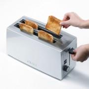 Graef Toaster 4-Scheiben Langschlitztoaster TO 100, silber, 2 lange Schlitze, für 4 Scheiben, 1380 W