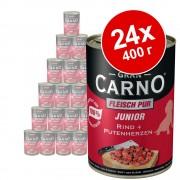 Бонус опаковка Animonda GranCarno Junior 24 x 400 г - говеждо месо и пуешки сърца