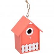 Lifetime Garden 1x Oranje/witte vogelhuisjes/vogelhuizen 20 cm van hout