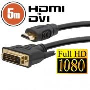DVI-D / HDMI kábel - 5 m aranyozott csatlakozóval