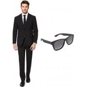 Zwart heren kostuum / pak - maat 50 (L) met gratis zonnebril