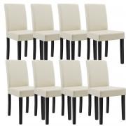 [en.casa]® 8 x sillas tapizadas (crema) (alta calidad) con patas de madera maciza / piel sintética / elegante / Set ahorro