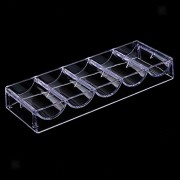 ELECTROPRIME® Clear Acrylic Poker Chips Tray 100 Chips Storage Case Container - No Lid