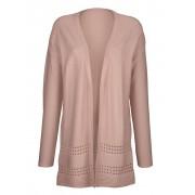 Alba Moda Strickjacke mit Ajour Muster am Saum, rosé